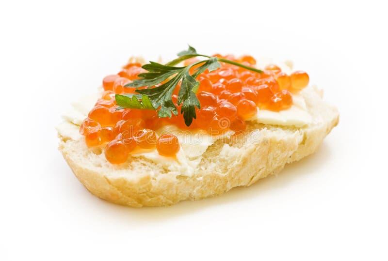 Sanduíche com caviar vermelho fotografia de stock