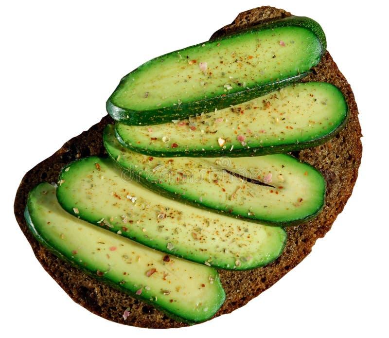 Sanduíche com o abacate sem sementes isolado no branco Abacate sem alguma semente Abacate do cocktail Abacate do pepino Marcas e  imagens de stock royalty free