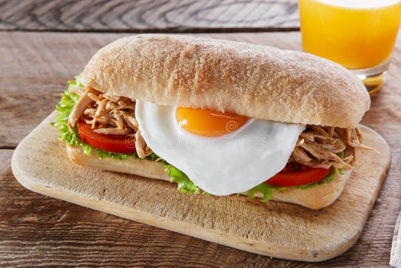 Sanduíche com o ciabatta grelhado da salada do tomate do ovo da carne fotos de stock
