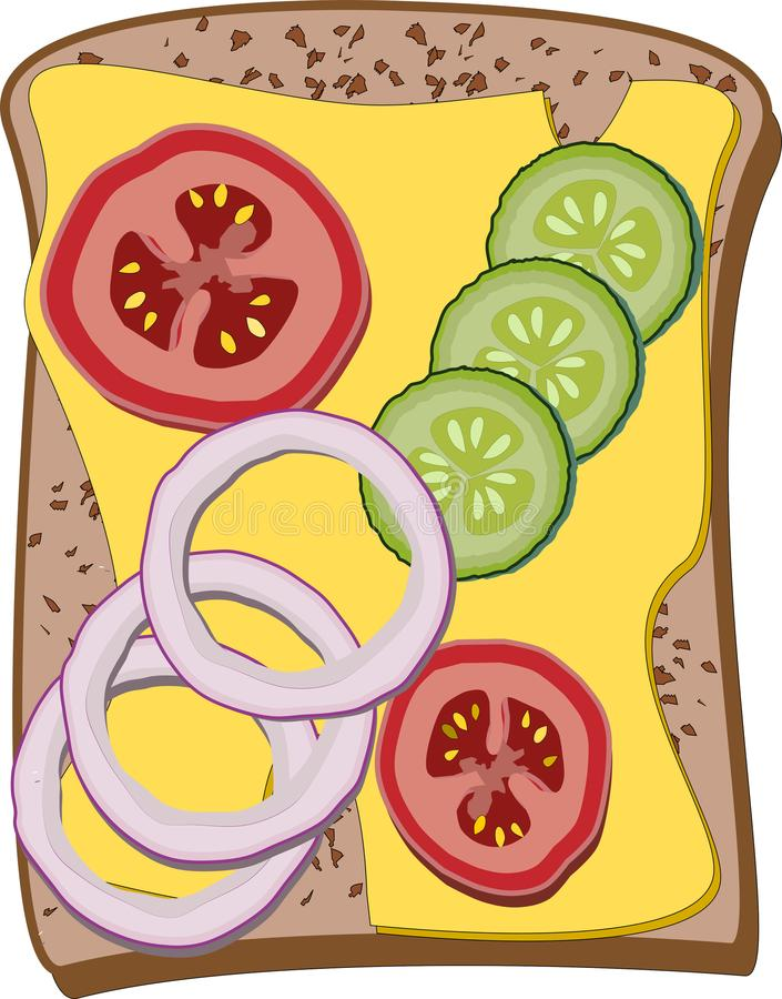 Sanduíche com queijo, os tomates cortados, os pepinos e os anéis de cebola, vetor ilustração do vetor