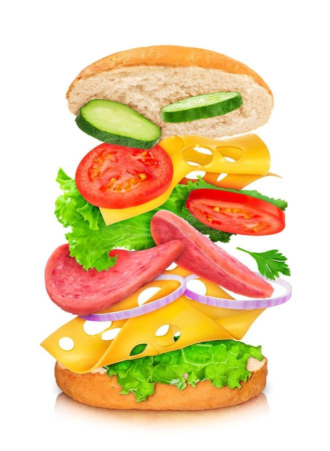 Sanduíche com reflexão e os ingredientes de queda imagem de stock royalty free