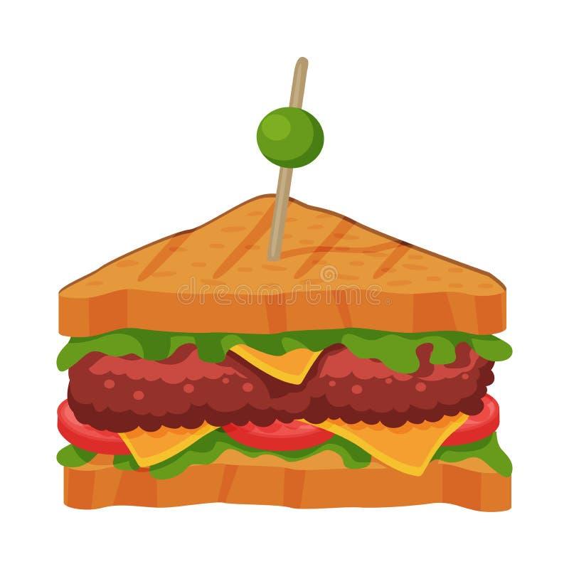 Sanduíche com Tomate, Queijo, Carne Patty e Alface, Ilustração Rápida de Vetor de Refeições ilustração do vetor