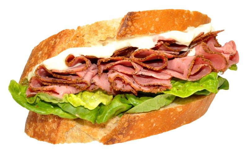 Sanduíche da carne do Pastrami fotos de stock