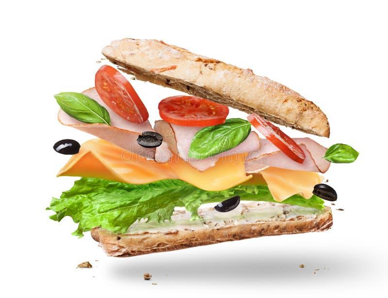 Sanduíche de Ciabatta com alface, tomates, presunto fotos de stock