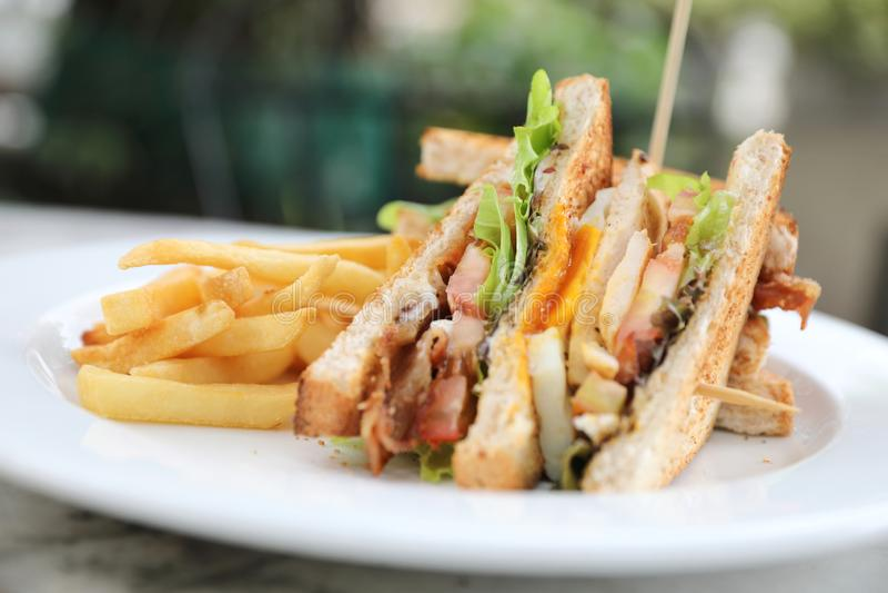 Sanduíche de clube, sanduíche com o tomate da galinha do bacon do ovo com fritado fotografia de stock