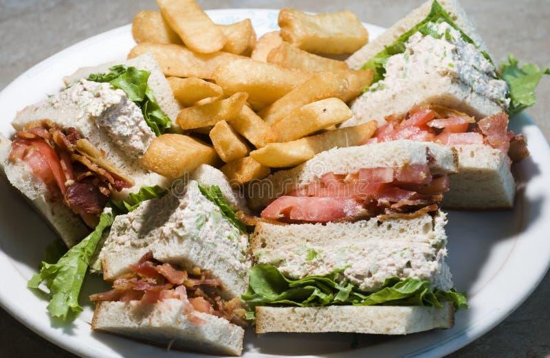 Sanduíche de clube do atum fotos de stock