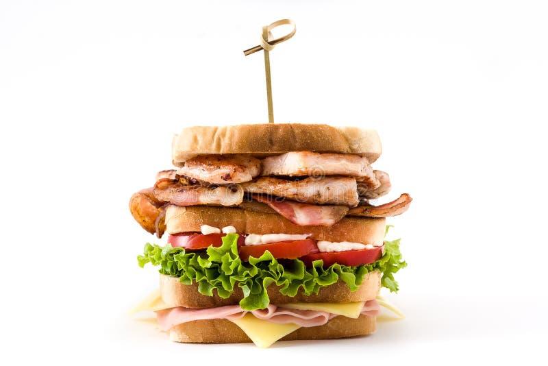 Sanduíche de clube isolado fotografia de stock