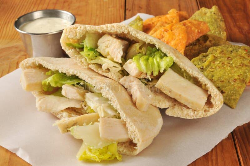 Sanduíche de galinha em Pita Bread fotografia de stock