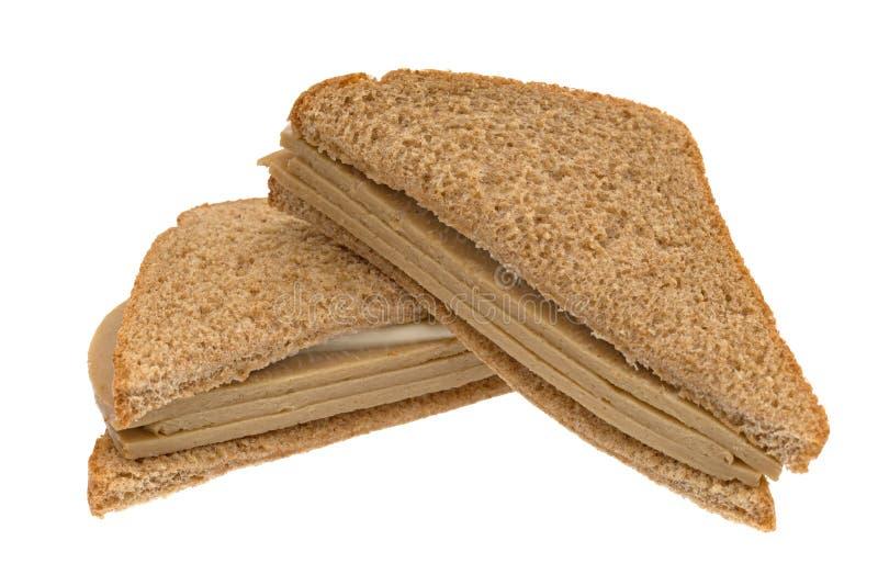 Sanduíche de peru do Tofu em um fundo branco fotografia de stock