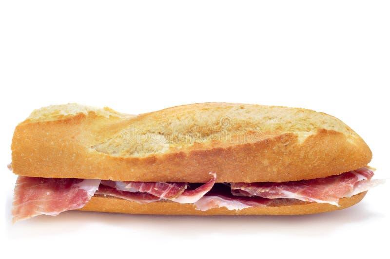 Sanduíche de presunto espanhol do serrano fotos de stock