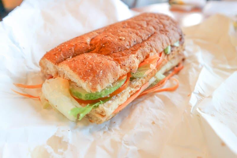 Sanduíche de presunto ou sanduíche do baguette imagens de stock royalty free