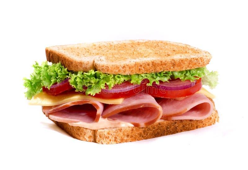 Sanduíche de presunto saudável com queijo e tomatow fotos de stock
