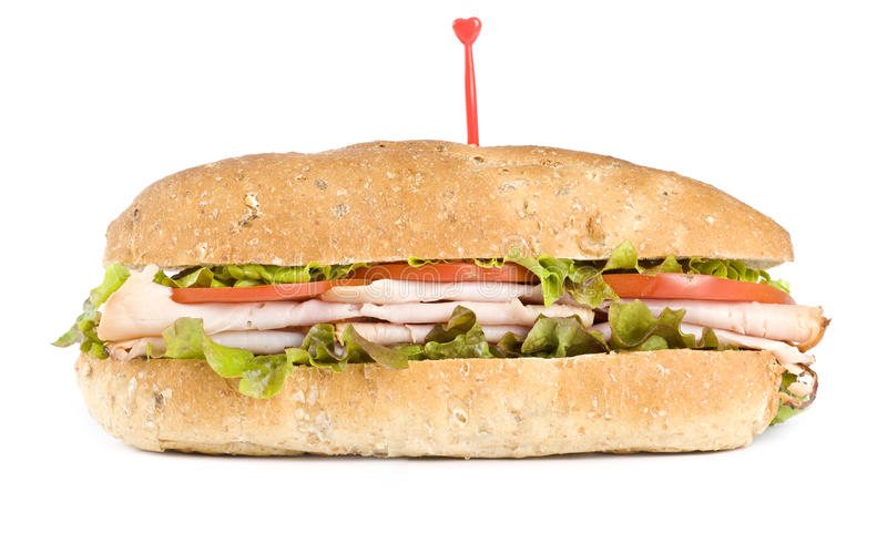 Sanduíche de turquia isolado no branco imagens de stock royalty free
