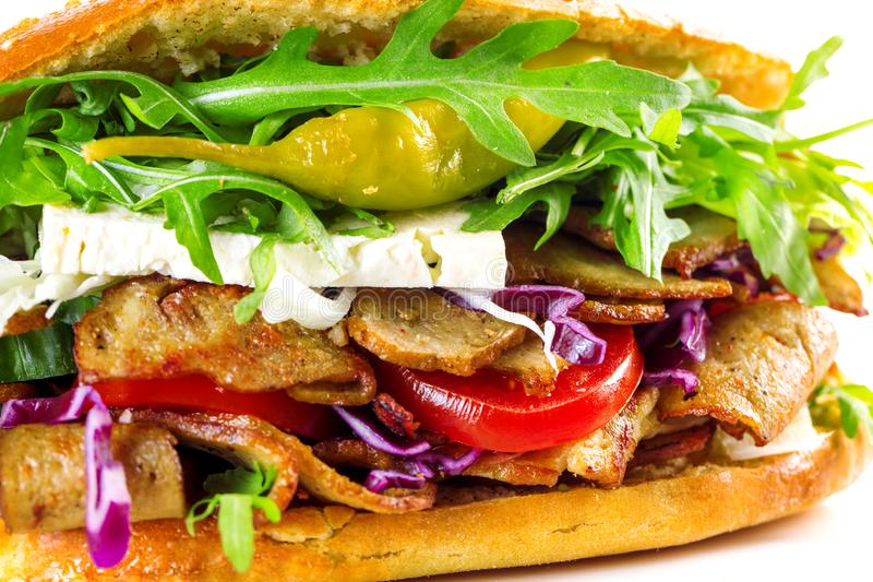 Sanduíche delicioso do no espeto isolado foto de stock royalty free