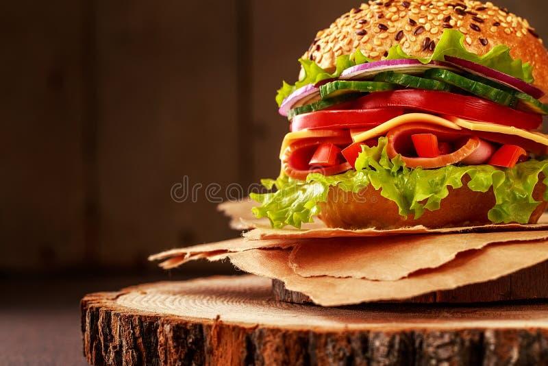 Sanduíche delicioso do presunto, do queijo e do salami imagens de stock