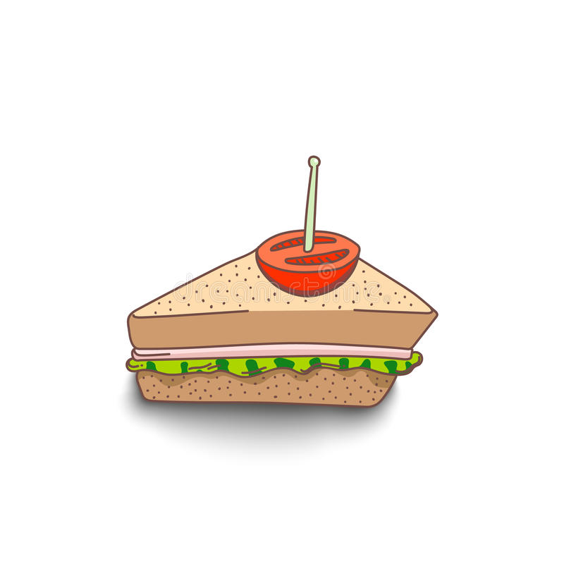 Sanduíche desenhado à mão bonito do estilo dos desenhos animados com sombra no fundo branco ilustração stock