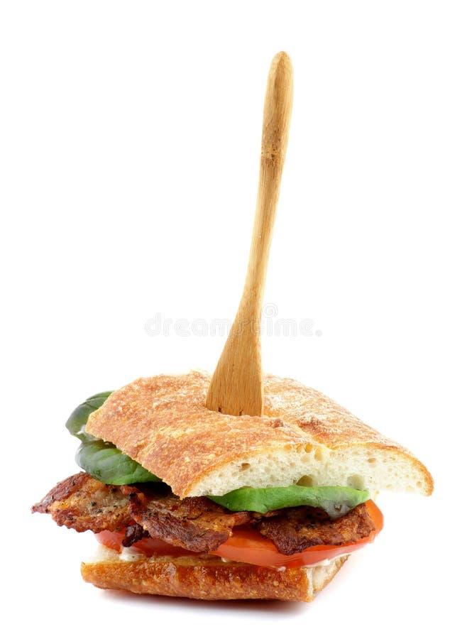 Sanduíche do bacon de Ciabatta foto de stock royalty free
