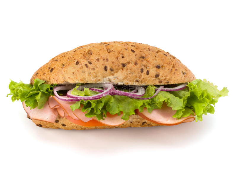 Sanduíche do baguette do fast food com alface, tomate, presunto e chees imagens de stock royalty free