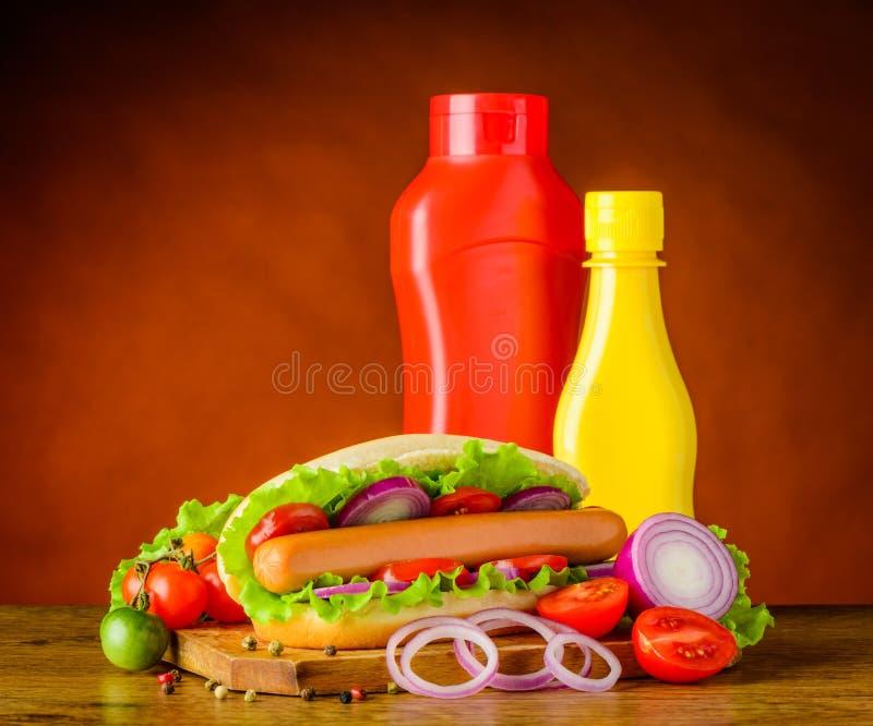 Sanduíche do cachorro quente com ketchup e mostarda imagens de stock royalty free