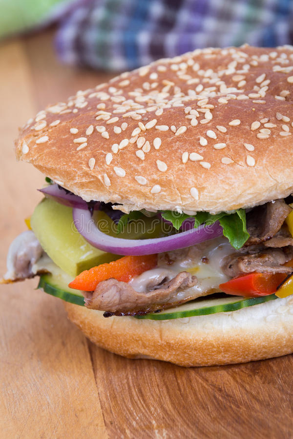 Sanduíche do hamburguer do bife do queijo de Philly fotos de stock