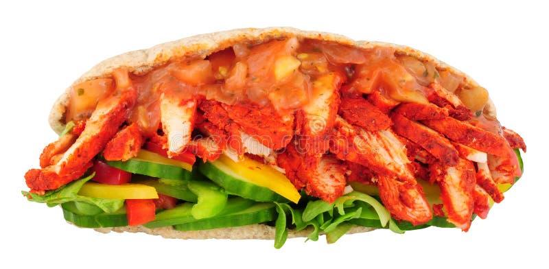 Sanduíche do pão de Pitta da galinha de Tandoori fotografia de stock royalty free