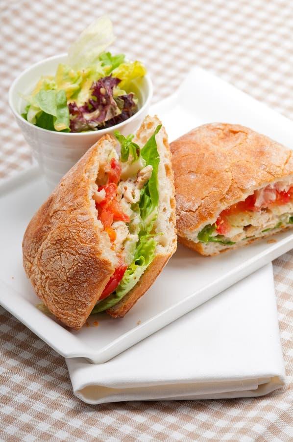 Sanduíche do panini de Ciabatta com galinha e tomate imagem de stock royalty free
