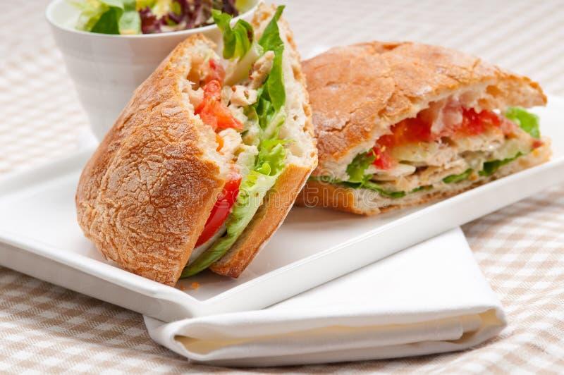 Sanduíche do panini de Ciabatta com galinha e tomate foto de stock royalty free