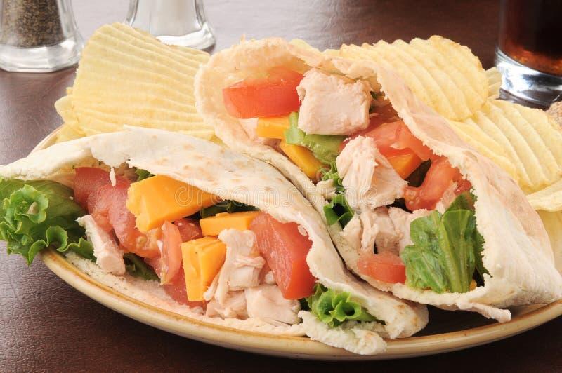 Sanduíche do pita da galinha com microplaquetas imagens de stock royalty free