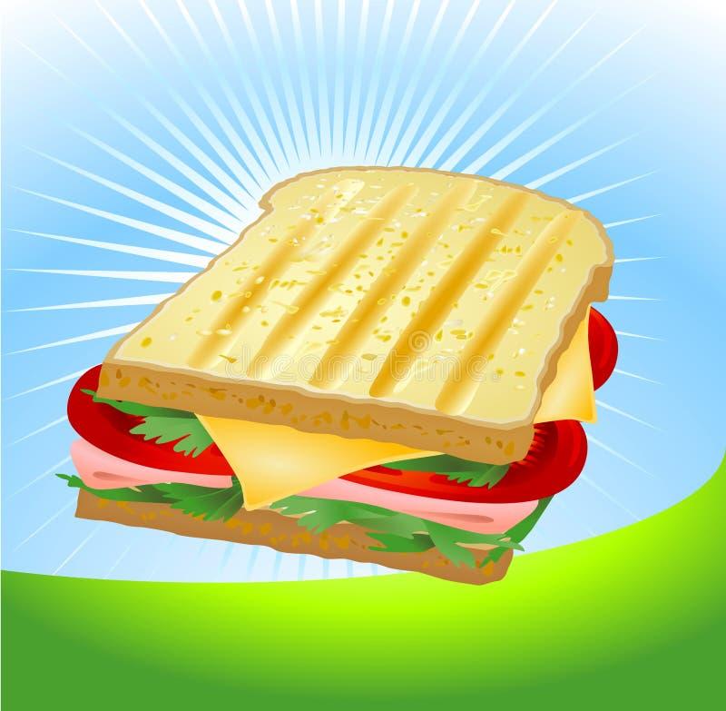Sanduíche do presunto e do queijo ilustração do vetor