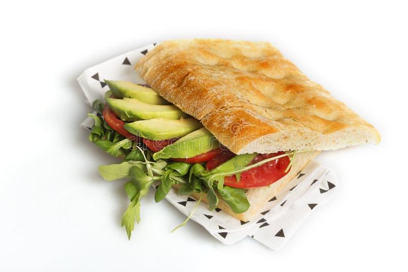 Sanduíche do vegetariano isolado em um fundo branco fotografia de stock royalty free