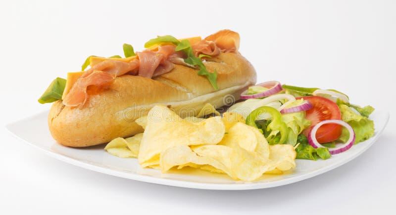 Sanduíche e salada fotografia de stock