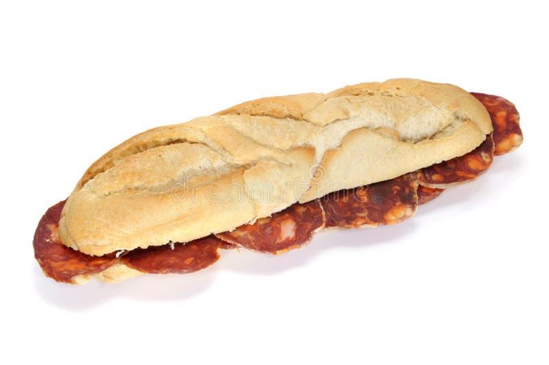 Sanduíche espanhol do chorizo foto de stock