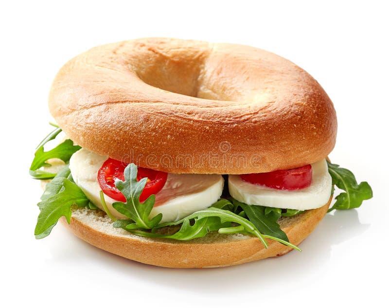 Sanduíche fresco do bagel imagens de stock