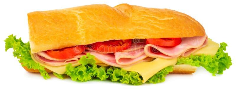 Sanduíche fresco do baguette com presunto, queijo, tomates, e alface imagens de stock