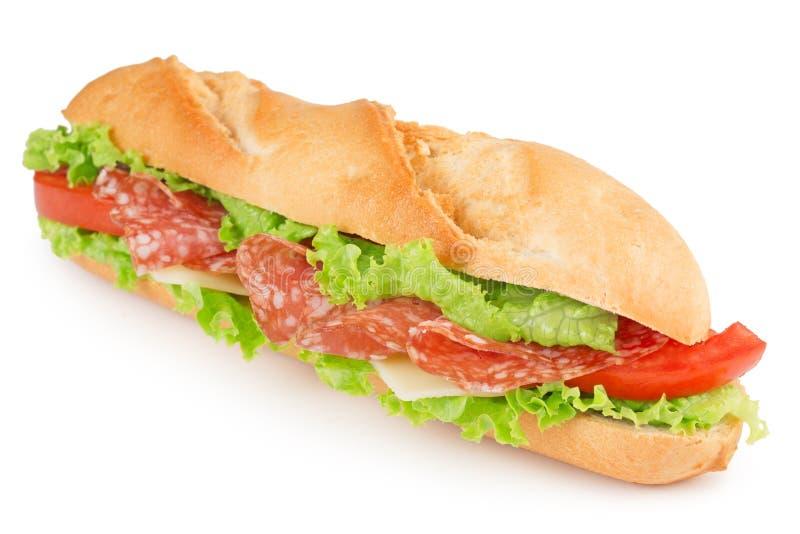 Sanduíche fresco do salame fotografia de stock
