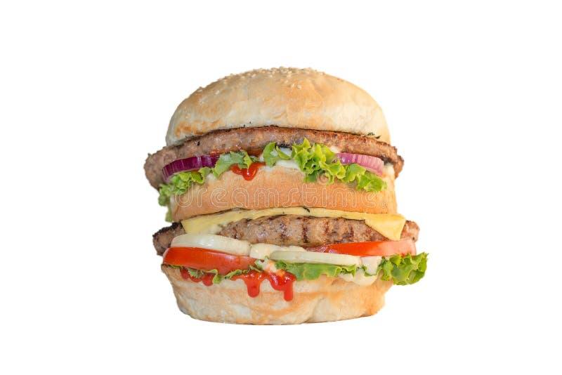 Sanduíche grande do Mac no fundo branco imagem de stock royalty free