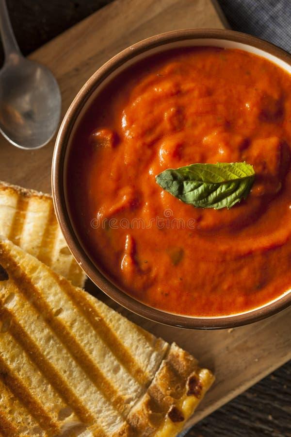 Sanduíche grelhado do queijo com sopa do tomate imagens de stock royalty free