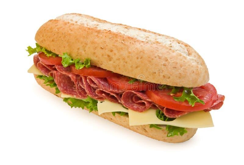 Sanduíche inteiro do salami do trigo com queijo fotos de stock