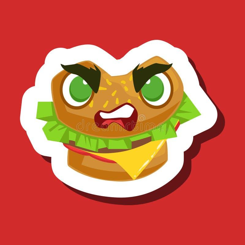 Sanduíche irritado do hamburguer, etiqueta bonito de Emoji no fundo vermelho ilustração royalty free
