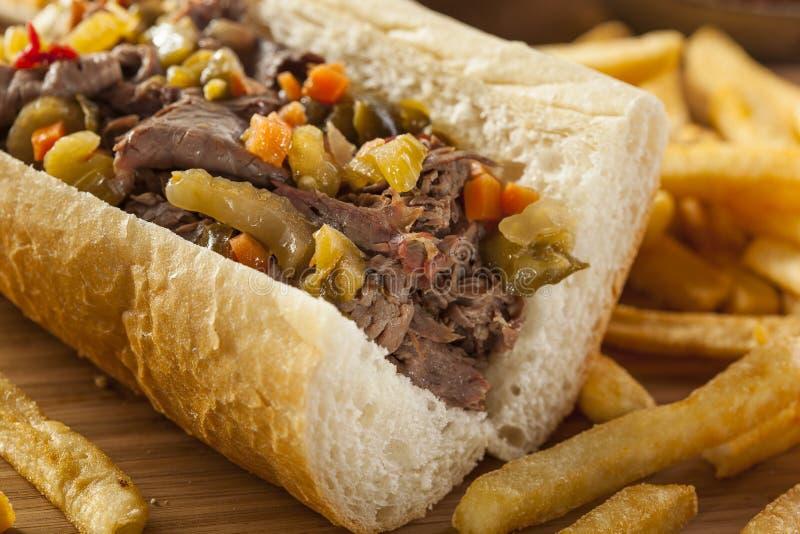 Sanduíche italiano entusiasta da carne fotografia de stock royalty free