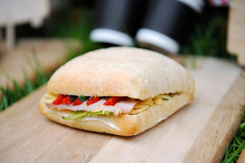 Sanduíche italiano popular do panini com presunto fotos de stock