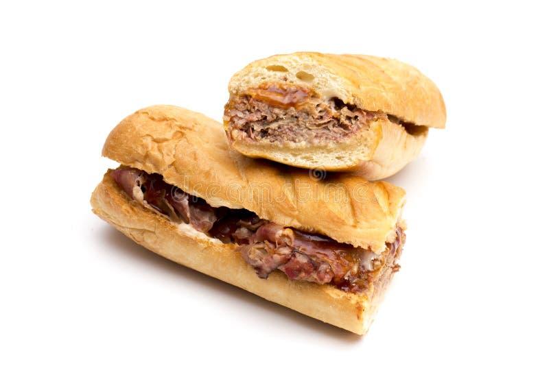 Sanduíche longo da carne do peito do BBQ imagens de stock royalty free