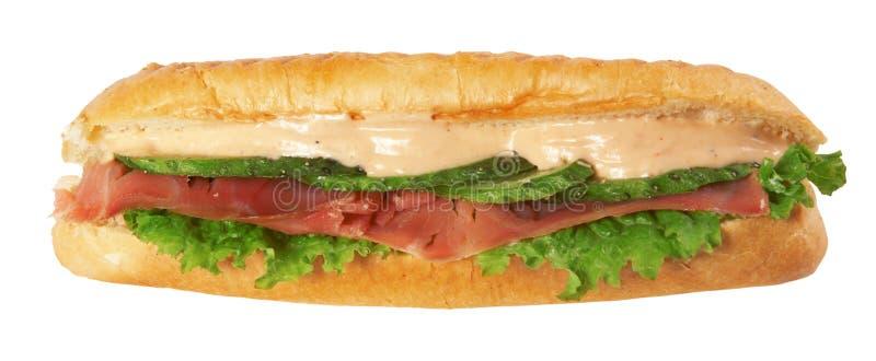 Sanduíche longo do baguette foto de stock