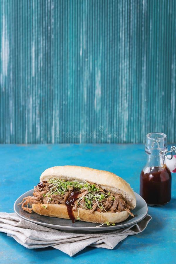 Sanduíche puxado da carne de porco foto de stock