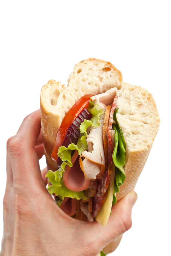 Sanduíche saboroso à disposição imagens de stock royalty free
