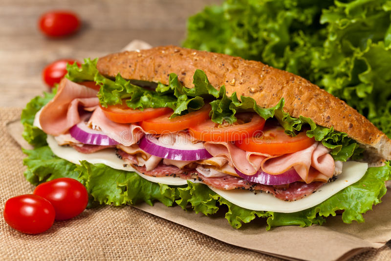 Sanduíche secundário do supermercado fino fotos de stock