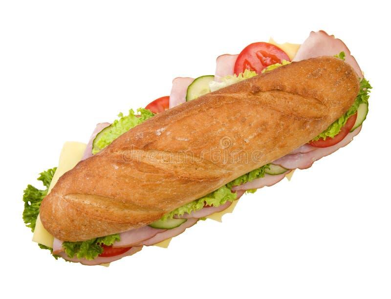 Sanduíche submarino do presunto & do queijo imagens de stock royalty free