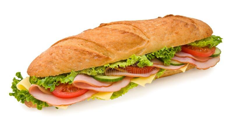 Sanduíche submarino do presunto & do queijo do Footlong foto de stock royalty free