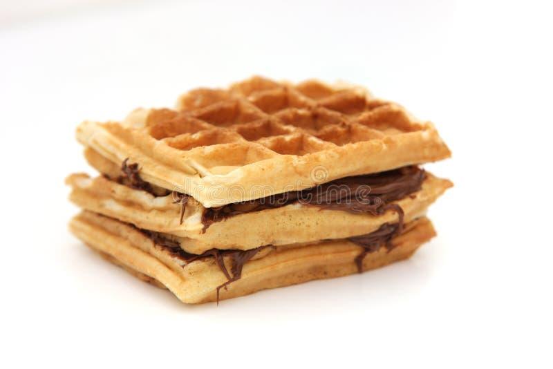 Sanduíche triplo de Nutella do waffle imagens de stock