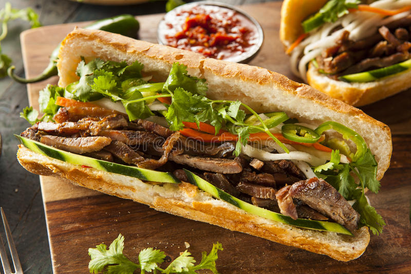 Sanduíche vietnamiano de Banh MI da carne de porco imagem de stock